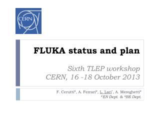 FLUKA status and plan Sixth TLEP workshop CERN,  16 -18 October 2013