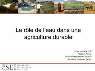 Le rôle de l'eau dans  une agriculture durable