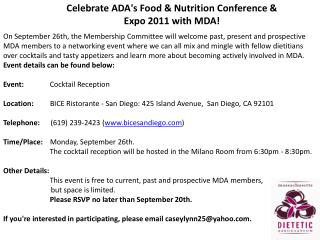 Celebrate ADA's Food & Nutrition Conference & Expo 2011 with MDA!
