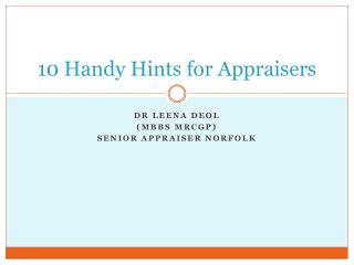 10 Handy Hints for Appraisers
