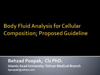 Body Fluid Analysis for Cellular Composition; Proposed Guideline