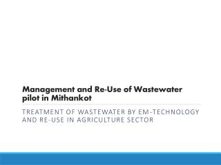 Management and Re-Use of Wastewater pilot in Mithankot