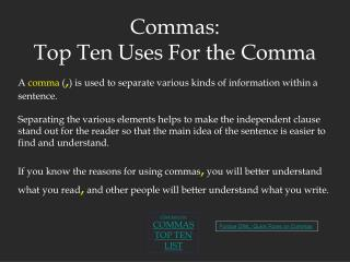 Commas: Top Ten Uses For the Comma