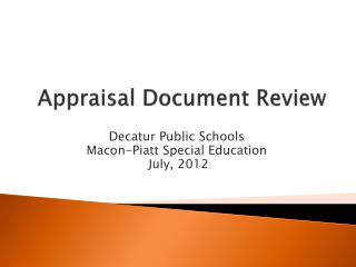 Appraisal Document Review
