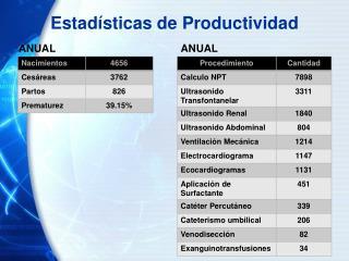Estadísticas de Productividad
