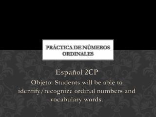 Práctica  de  Números Ordinales