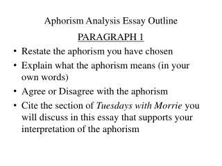 Aphorism Analysis  Essay  Outline