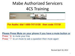 Mabe Authorized Servicers 4CS Training