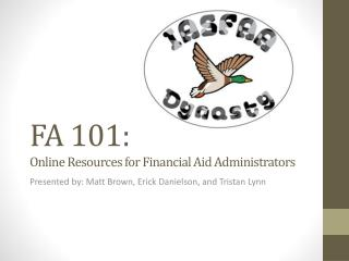 FA 101: Online Resources for Financial Aid Administrators