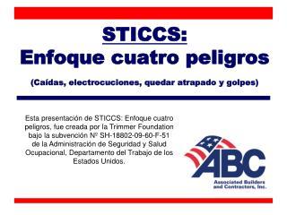 STICCS: Enfoque cuatro peligros (Caídas, electrocuciones, quedar atrapado y golpes)
