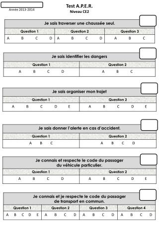 Test A.P.E.R. Niveau CE2