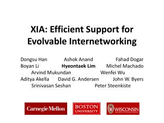 XIA: Efficient Support for Evolvable Internetworking