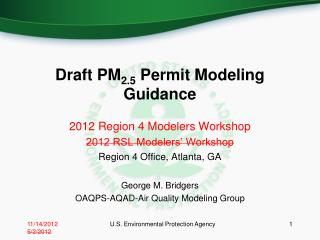 Draft PM 2.5  Permit Modeling Guidance