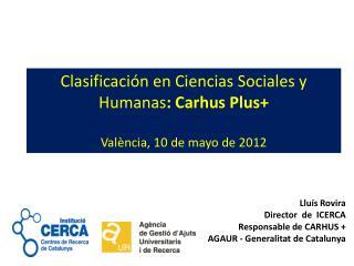 Clasificación en Ciencias Sociales y Humanas : Carhus Plus + València , 10 de mayo de 2012