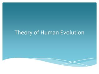 Theory of Human Evolution