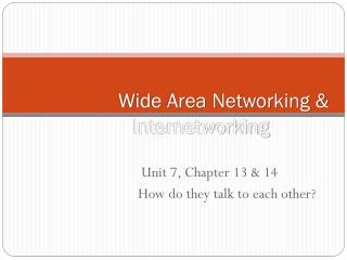 Wide Area Networking  Internetworking