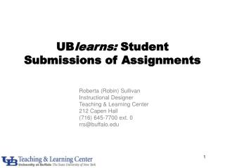 UB learns:  Student Submissions of Assignments