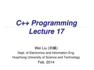 C++ Programming Lecture 17