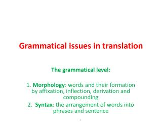 Grammatical issues in translation