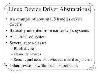 Linux Device Driver Abstractions