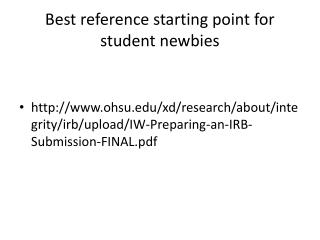 Best reference starting point for student newbies