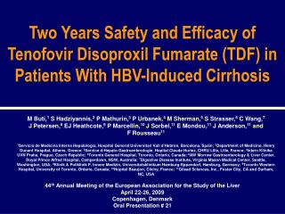 Two Years Safety and Efficacy of Tenofovir Disoproxil Fumarate TDF in Patients With HBV-Induced Cirrhosis