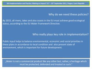 SEA of Water Management Plans and the Role of the Public