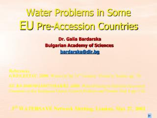 Water Problems in Some  EU  Pre-Accession Countries
