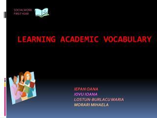 LEARNING ACADEMIC VOCABULARY