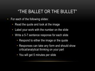 """The Ballet or the Bullet"""