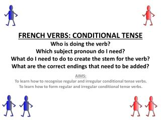 AIMS: To learn how to  recognise  regular and irregular conditional tense verbs.