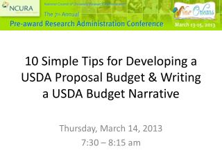 10 Simple Tips for Developing a USDA Proposal Budget & Writing a USDA Budget Narrative
