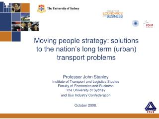 Moving people strategy: solutions to the nation s long term urban transport problems