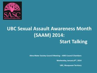 UBC Sexual Assault Awareness Month (SAAM) 2014: Start Talking