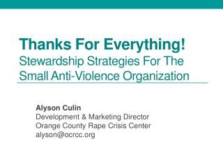 Thanks For Everything!  Stewardship Strategies For The Small Anti-Violence Organization