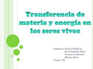 Nombres: Nicole Saldivia                   M. Fernanda Silva Verena  Cárdenas