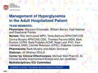 Management of Hyperglycemia                 in the Adult Hospitalized Patient