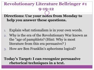 Revolutionary Literature Bellringer #1 9-19-12