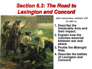 Section 6.3: The Road to Lexington and Concord