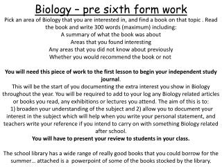 Wider Reading in Biology