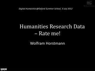 Humanities Research Data – Rate me!