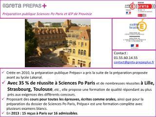 Préparation publique Sciences Po Paris et IEP de Province