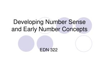 Developing Number Sense and Early Number Concepts