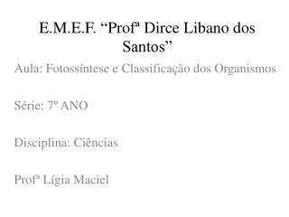 """E.M.E.F.  """" Profª  Dirce  Libano  dos Santos"""""""