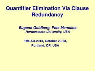 Quantifier Elimination  Via  Clause Redundancy