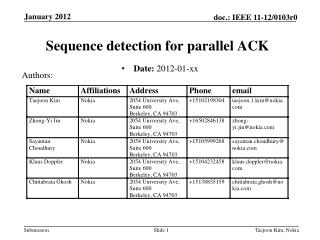 Sequence detection for parallel ACK