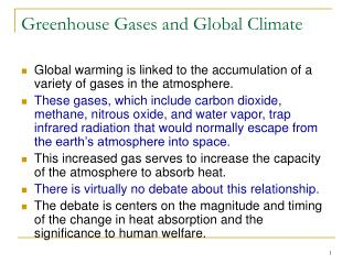 Greenhouse Gases and Global Climate
