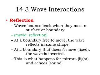 14.3  W ave Interactions