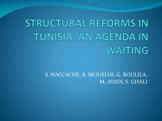 STRUCTURAL REFORMS IN TUNISIA: AN AGENDA IN WAITING