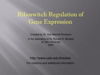Riboswitch Regulation of Gene Expression